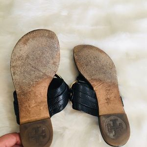 Tory Burch Shoes - Tory Burch pebbles leather logo sandals GUC